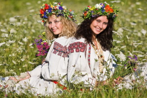 Traditional costumes Romania young women