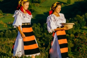Maramures traditional costumes young women