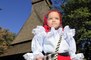 Maramures UNESCO wooden church traditional girl